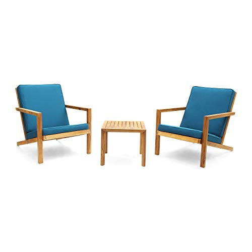 Christopher Knight Home 306120 Nick Outdoor 3 Piece Acacia Wood Chat Set, Brown Patina and Dark Teal