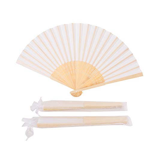 Sepwedd 50pcs White Imitated Silk Fabric Bamboo Folded Hand Fan