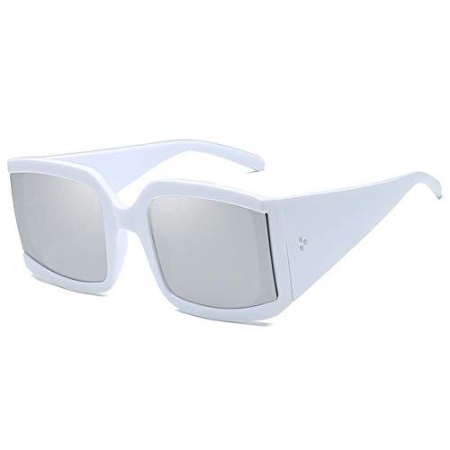 ZZOW Gafas De Sol Cuadradas De Gran Tamaño Vintage para Mujer, Gafas De Espejo con Degradado Decorativo para Uñas, Gafas para Hombre, Gafas De Sol Uv400