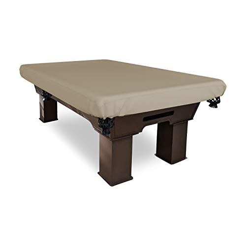 """Billiard Pool Table Cover 12 Oz Waterproof - 100% Weather Resistant Outdoor Pool Table Cover with Elastic (100"""" W x 56"""" D x 8"""" H, Beige)"""