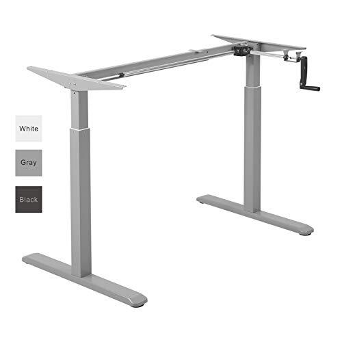ALLDREI Höhenverstellbarer Schreibtisch Kurbelverstellbares Tischgestell, 2-stufiger Sitzpultrahmen (Grau)