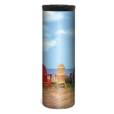 Tree-Free Greetings Barista Tumbler, Vacuum Insulated Travel Coffee Tumbler, 17oz Stainless Steel Mug, Shark Collage (BT31374)