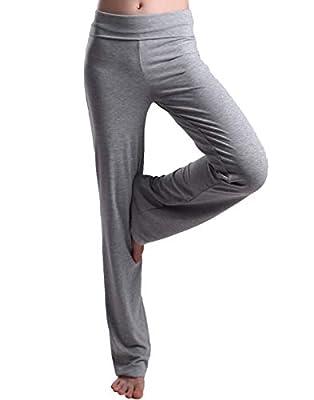 HDE Foldover Athletic Yoga Pants Gym Workout Leggings (Light Gray, X-Large)