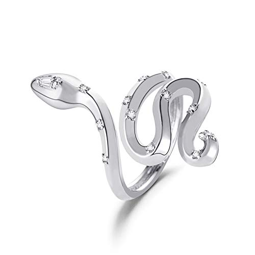 Snake Ring Cobra Shaped Retro Punk Exaggerated Spirit Ring Open Ring Temperament Adjustable Ring Jewelry