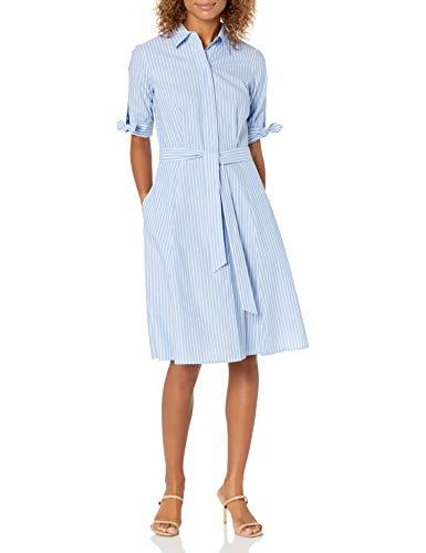 Calvin Klein Damen Short Sleeve Shirt Dress with Self Belt Kleid, Chambray/White, 42