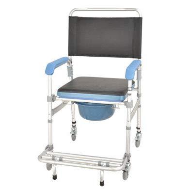 SXZZ Fahrbar Toilettenstuhl, Faltbarer Duschstuhl, Rollstuhl Mit WC-Eimer, WC Rollstuhl, Toilettenrollstuhl Mit Armlehne Und Rückenlehne, Für Ältere Menschen Mit Behinderung