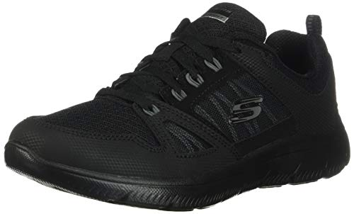 Skechers Summits-New World, Zapatillas Mujer, Negro (BBK Black Leather/Mesh/Black Trim), 39 EU