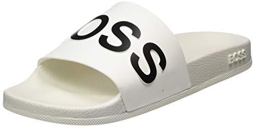 BOSS Herren Bay_Slid_rblg Pantoletten, Weiß (White 100), 40 EU