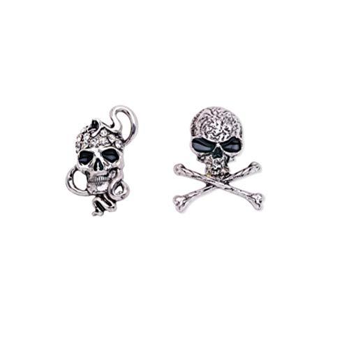 KESYOO 2 Piezas de Broche de Calavera Gothic Punk Broche de Huesos de Calavera Gothic Punk Elegante Broche de Esqueleto para Disfraz de Fiesta de Noche (X1510 / X1513 Plata)