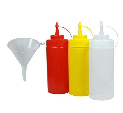 Viva Haushaltswaren - 3 x Quetschflasche 0,45 L Set, Gastro Dosierflaschen leer für Ketchup / Mayonnaise / Senf, BPA frei, BBQ & Küchen Squeeze Flasche aus Kunststoff, rot / gelb / weiß, inkl Trichter