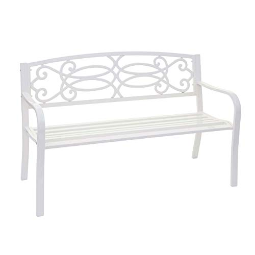 Mendler Gartenbank HWC-F44, Bank Parkbank Sitzbank, 2-Sitzer pulverbeschichteter Stahl - weiß