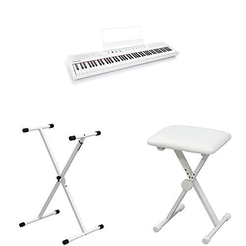 Alesis 88鍵盤 初心者向け電子ピアノホワイト と キクタニ キーボードスタンド と キーボードベンチのセット
