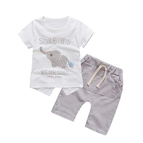0-5 años de edad, conjunto de trajes de niña, bebé niño niña niño de dibujos animados elefante tops camiseta pantalones cortos conjunto de ropa de bebé conjunto, gris, 12-18 meses