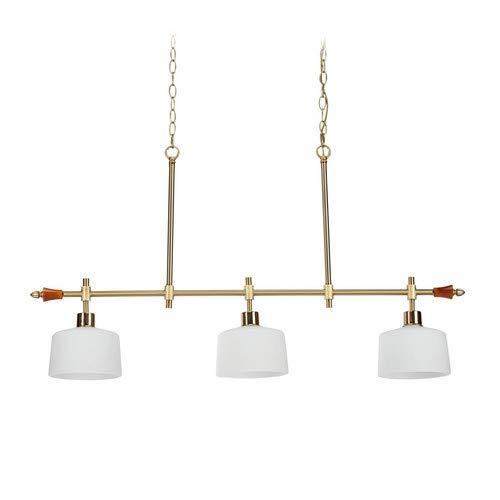 Relaxdays plafondlamp 3 lampen, ronde lampenkapjes, kettingen, baldakijn hout, edel, HBT: 115x106x18 cm, wit/brons