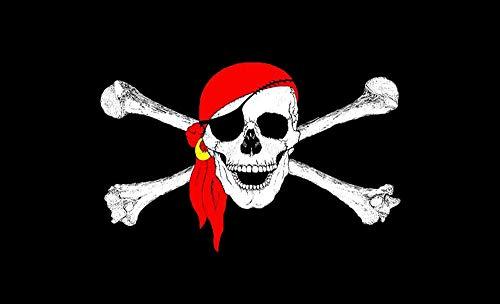 AimtoHome Jolly Roger Flagge (roter Schal), Halloween-Piratenflaggen, Polyester, Leinen, Messing, Knopflöcher, leuchtende Farben, verblassen nicht