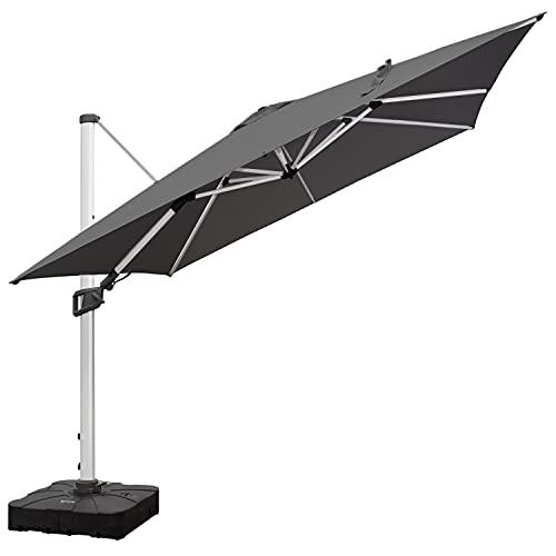 RANSENERS Ampelschirme Sonnenschirm Gartenschirm, 300 x 300 cm Quadrat, Gestell Aluminium/Stahl, Bespannung Polyester mit UV-Schutz 80+ , 360° Drehbar, 4 Positionen