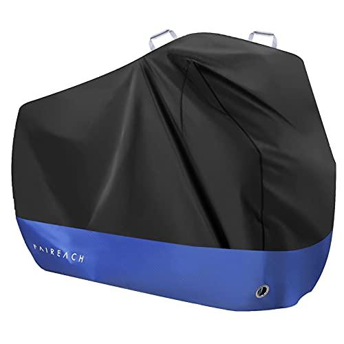 Faireach Abdeckplane Fahrrad Wasserdicht, Fahrradabdeckung 210D Premium-Stoff, Fahrradgarage Schutz vor Staub Regen Schnee UV, Schutzhülle mit Schlosslöcher & Beutel, Schwarz & Blau