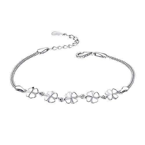 BGQ - Pulsera de plata chapada en plata, diseño de trébol de cuatro hojas para mujer