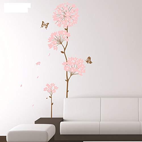 PISKLIU Muurstickers Romantische Roze Bloemen Muursticker Mooie Vlinder Home Decor Woonkamer Art Pvc Vinyl Muurstickers Chinese Stijl Behang