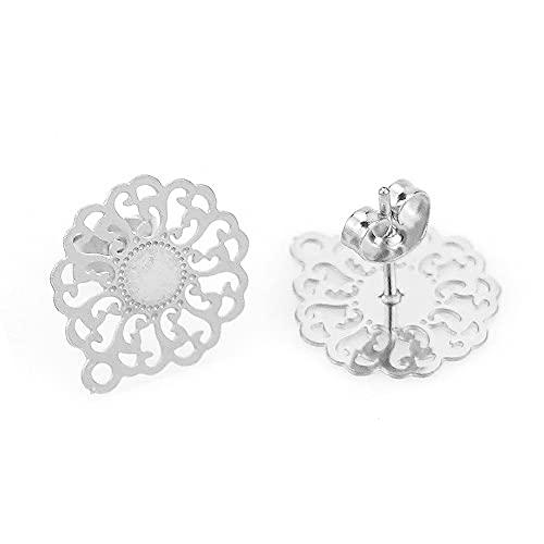 PJ 10 unids retro abierto flor de flores de acero inoxidable bohemia hallazgos perno pendiente pendiente de aguja básica Postales Pendiente BRICOLAJE Producir joyería TL821 ( Color : Style 3-steel )