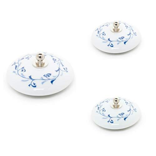 Abc_baño Tapón Lavabo 3 uds. de Porcelana Decorado Laurel Azul
