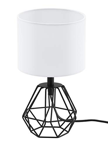 Lámpara de mesa EGLO CARLTON 2, lámpara de mesa vintage con 1 bombilla, lámpara de mesita de noche de acero y tela, colores: negro, blanco, casquillo: E14, interruptor incluido