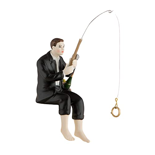 Wedding Cake Topper Groom Figure with Fishing Rod Hand Painted Porcel