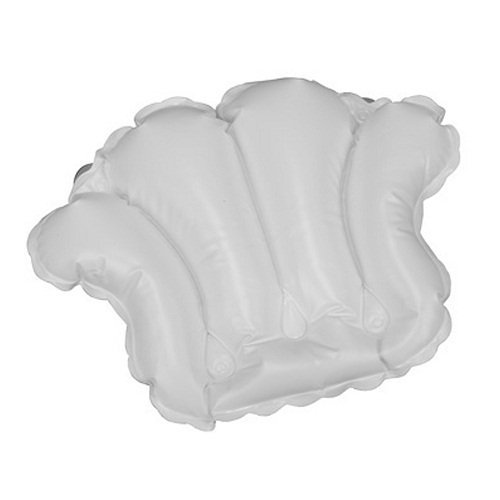 White Vinyl Shell-Shaped Spa Bath Pillow
