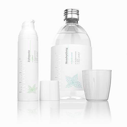 hylodent Bio Set für Jeden Tag I Zahnpasta ohne Fluorid +antibakterielle Mundspülung ohne Alkohol I Medizinisches Zahnreinigungs-Set I 100% natürlich & vegan