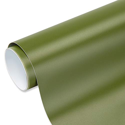 VINYL FROG Rollo de vinilo adhesivo permanente, color verde oliva mate, 30,5 x 30,8 cm, para decoración de botellas y cristales.