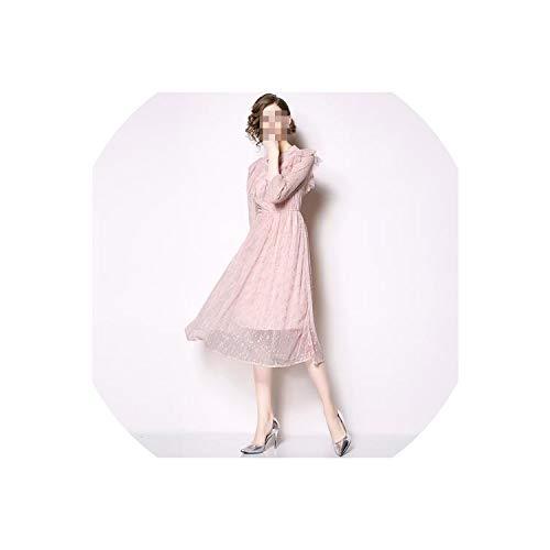 Vestido de fiesta de primavera, de longitud media, color rosa, Rosado, XXL