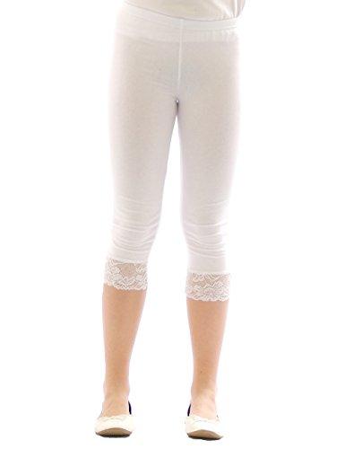 Mädchen Kinder Leggings Leggins Hose Capri 3/4 kurz mit Spitze Baumwolle Weiss 116