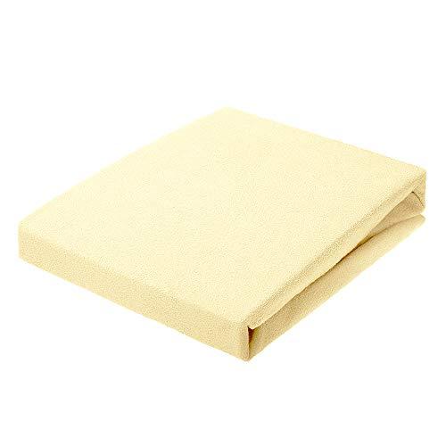 Spannbettlaken 160 x 200 | Frottee Stoff Bettlaken | Hohe Qualität Leintuch 80% Baumwolle, 200 g/m² | Spannbetttuch für Boxspringbett, Topper, Matratze, Bett [bis 30 cm] | Gelb | von Textillo