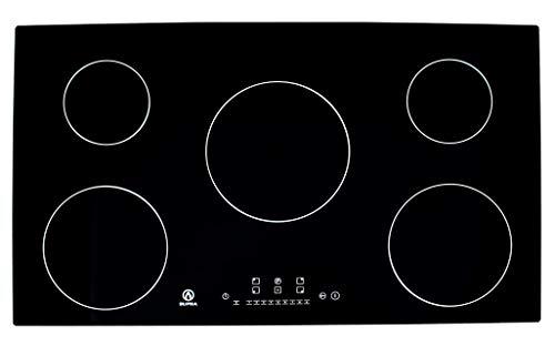Supra 5Q-IN Parrilla de Inducción Magnética, color Negro, 5 Quemadores, 90 cm