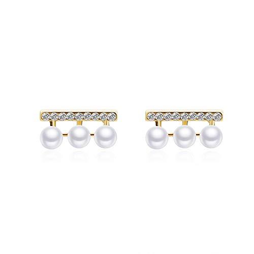 Qingerda 925 Silber Nadel Ohrringe in einer Reihe von Zirkonen drei kleine Perlenohrringe