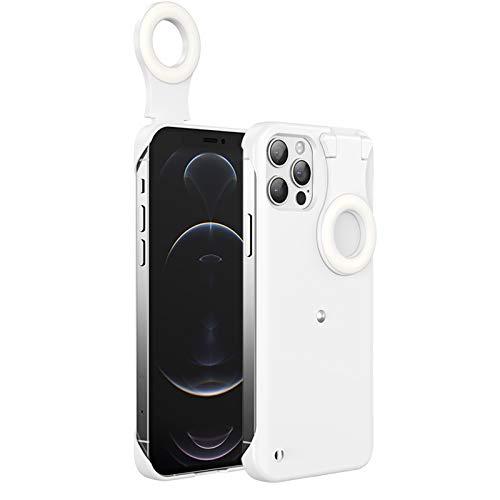 OFOCASE Selfie Fill Light Ring Light Phone Case for iPhone 12/12 Pro, 3 Lighting Modes Selfie Light up Protective Case, USB LED Ring Light Silicone Case for Youtube Live Streaming Vlogs Makeup Photo