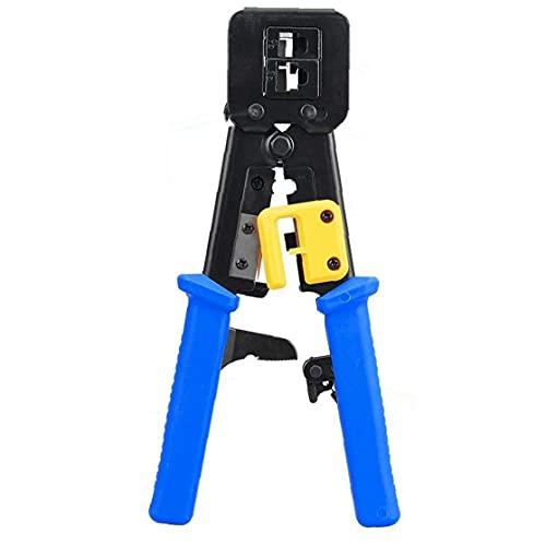 Rueda de trinquete Herramienta que prensa RJ45 / 6P8P través de la herramienta Herramienta de agujero Abrazadera de cable CAT5 Cat5e Cat6 Red Mano Azul de Industria
