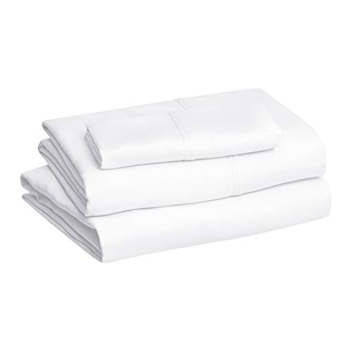 """Amazon Basics Lightweight Super Soft Easy Care Microfiber Sheet Set with 14"""" Deep Pockets, Twin, Bright White"""