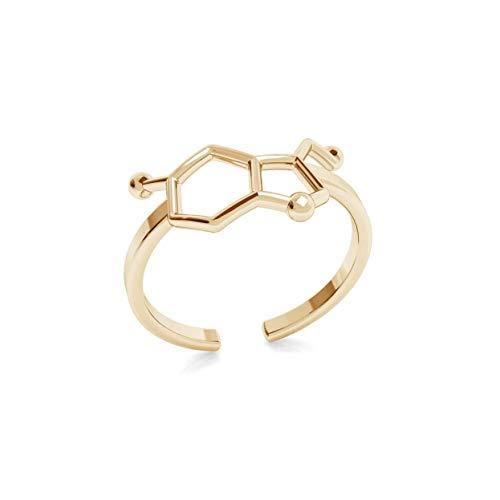 Beforya Paris - Anillo de plata de ley 925, Serotonin, chapado en oro de 24 quilates, fórmula química, para mujer, tamaño ajustable, PIN/75