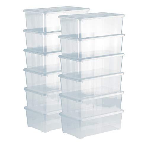 Grizzly Lot de 12 Boites de Rangement avec Couvercle - 5 L - Caisses empilables en Plastique Transparent - pour vêtements, Chaussures, Jouets, Bricolage