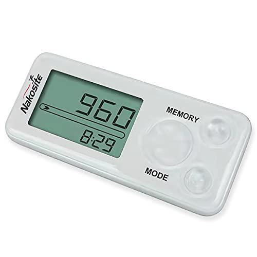 Nakosite PEDI2433-NVW - Podómetro de marcha sin conexión para mujer, hombre o niño, contador de pasos, distancia, calorías, clip, correa y sin Bluetooth