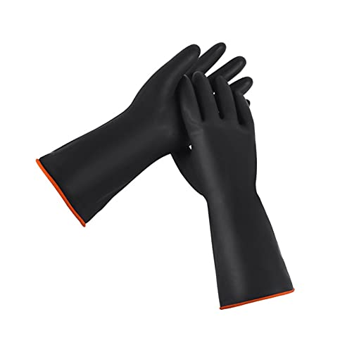 Zwarte zuurbestendige rubberen handschoenen voor fabriek verdikte grote slijtvaste waterdichte en corrosiebestendige…