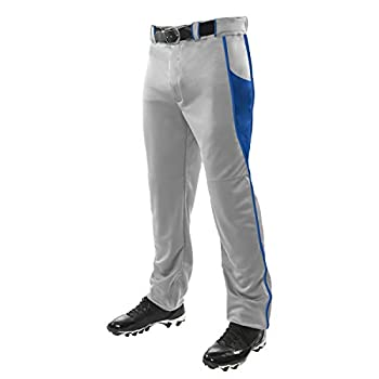 CHAMPRO Triple Crown OB2 Open-Bottom Loose Fit Baseball Pants with Adjustable Inseam and Reinforced Sliding Areas Grey Royal X-Large