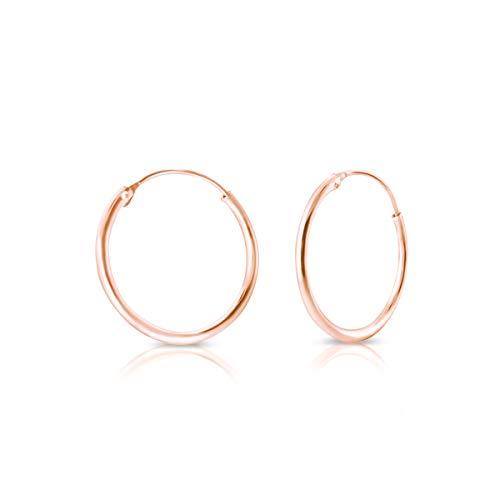 DTPsilver - Damen - Creolen - Ohrringe 925 Sterling Silber und Rose Vergoldet - Dicke 1.2 mm - Durchmesser 25 mm