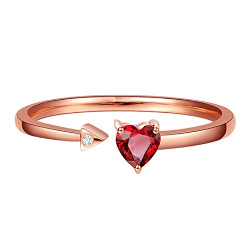 WHX Anillos Mujer,Anillo Piedra Preciosa Mujer Abrir Anillo de Bao de Oro con Incrustaciones Naturales Color rubí corazón Forma 18K joyería
