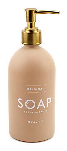 ASN Store Seifenspender aus Glas mit Plastikpumpe | 500 ml | für Seife, Spülmittel, Shampoo, ideal für Bad und Küche, matt (Beige)