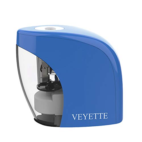 Electric Pencil Sharpener, VEYETTE Portable Pencil Sharpener Perfect for Kids, Teachers and Artists, Plug & Battery Operated,USB Included