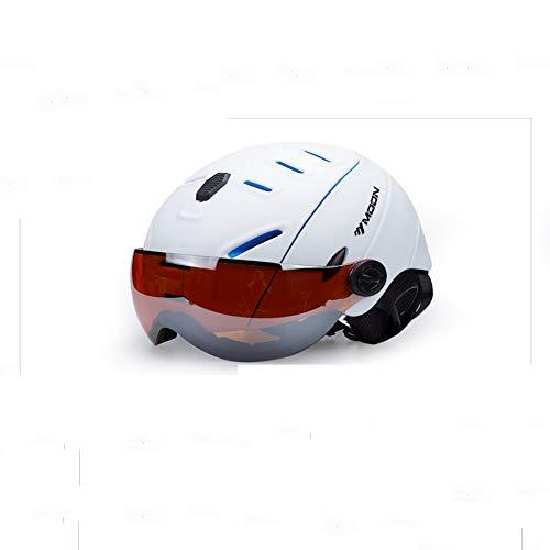 Veiligheidshelm voor skihelmen - eendelige helm met bril - skihelm voor dames en heren - zwart/wit/blauw/rood