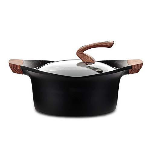 EODNSOFN Maifan Stone Non-Stick Pan Binaural Soup Pot Steamer Stew Pot No Soot Flame Induction Cooker Household Kitchen Supplies