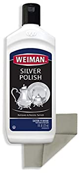Weiman Silver Cleaner and Polish - 8 Ounce with Polishing Cloth - Ammonia Free - Polish Silver Jewelry Sterling Silver Antique Silver Gold Brass Copper and Aluminum